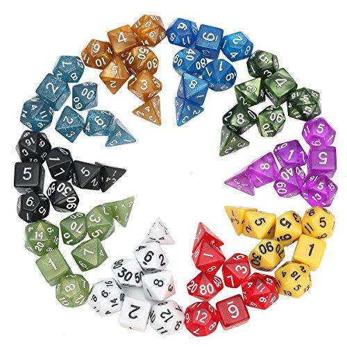 QOJA 70 pcs polyhedral dice board rpg dice set 10 colors 4d 6d by QOJA