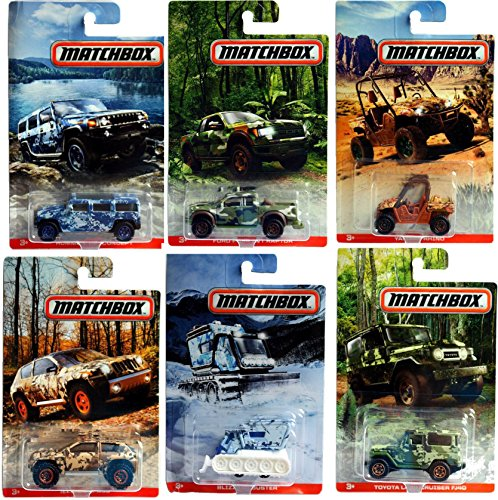 Matchbox 2017 Camoflauge Adventure Exclusive Complete Set of Six Jungle / Desert / Arctic Jeep Land Cruiser Hummer Yamaha Rhino Ford Raptor Snow Plow (Walmart Boy Toys)