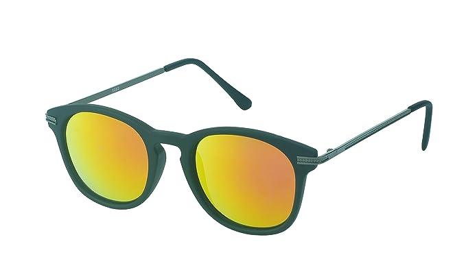 Des lunettes de soleil Chic-net rondes John Lennon 400UV pont serrure Retro repassage d'orange réfléchissante mince 0CF0KUz
