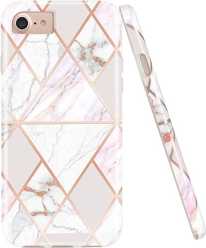 Jaholan Cover per iPhone 7 iPhone 8 6 6S Custodia Shiny Rose Gold Geometric Pink Marmo Design Silicone Gomma TPU Ultra Leggera Chiaro Flessibile ...
