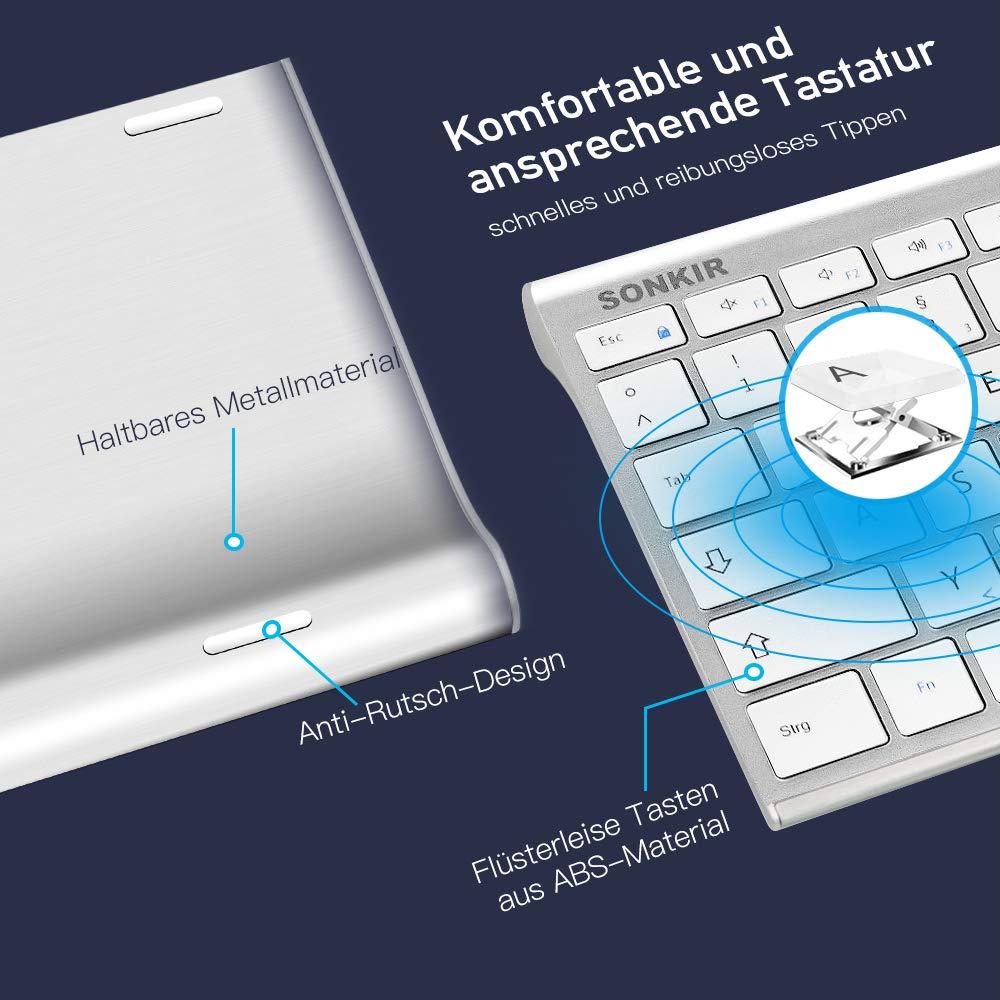 Sonkir Tastatur und Maus, K-18 2,4GHz ultradünne wiederaufladbare Aluminium-Tastatur in voller Größe für Windows, Laptop, PC, Notebook (Silber)