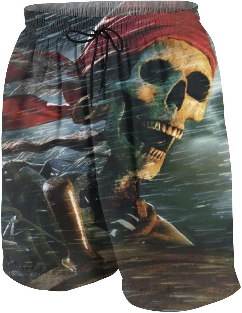 7-8 Kidhome Teenager Boys Beach Board Shorts Pirate Skull Summer Drawstring Beach Shorts Swim Trunks with Pockets for Teen Boys S