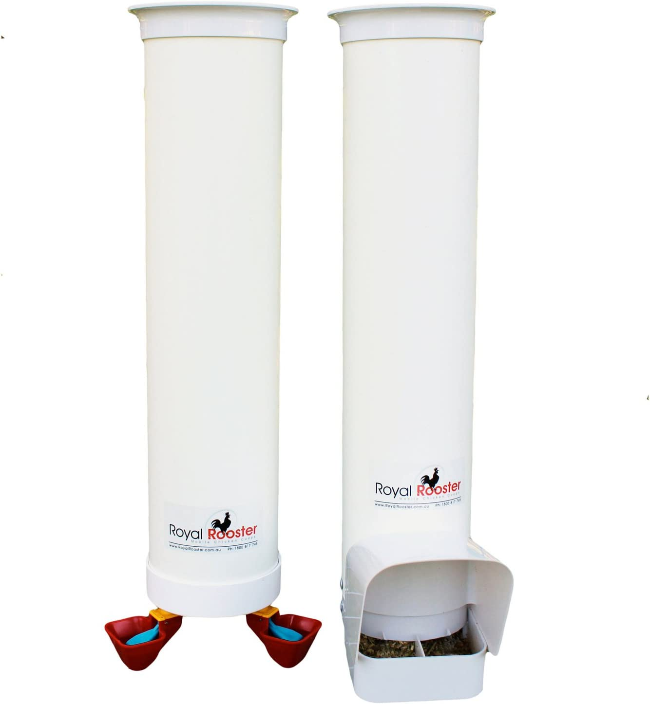 Royal Rooster Duck Feeder with Rain Cover and Twin Valve-Cup Waterer Set – 6.5lbs / 1 gal.