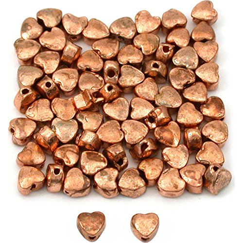 15g Heart Beads Copper Plated Beading 4mm Approx ()