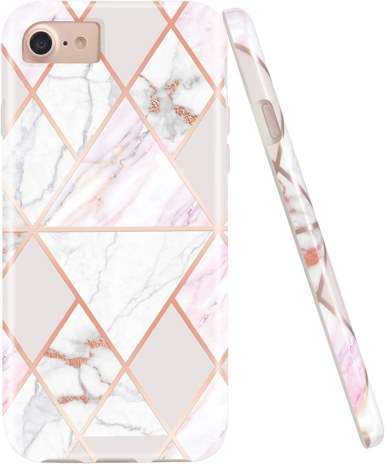 JAHOLAN Shiny Rose Gold Geometric Pink Marble Design Clear Bumper Glossy TPU Soft Rubber Silicone Cover Phone Case Compatible with iPhone 7 iPhone 8 iPhone 6 6S iPhone SE 2020