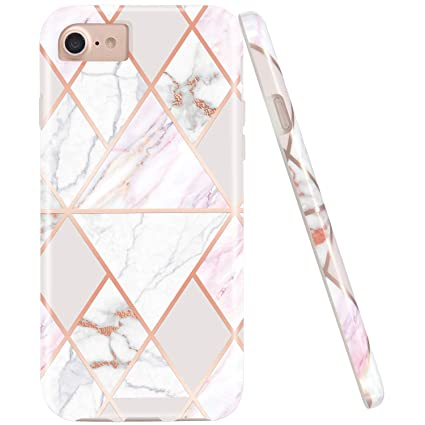 JAHOLAN Shiny Rose Gold Geometric Pink Marble Design Clear Bumper Glossy TPU Soft Rubber Silicone Cover Phone Case Compatible with iPhone 7 iPhone 8 ...