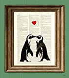 Amazon Price History for:Penguin Art Print Romantic PENGUIN COUPLE in love with heart altered art dictionary page illustration book print