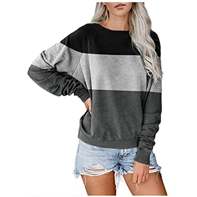 Sttech1 Women's Color Block Round Neck Tunic Tops Casual Crew Neck Long Sleeves Pullover Blouse Loose Sweatshirts: Clothing
