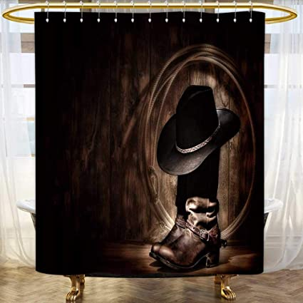 Jiahonghome Shower Curtains Waterproof American West Rodeo Cowboy Traditional Black Felt Hat Resting ATOP Worn Leather