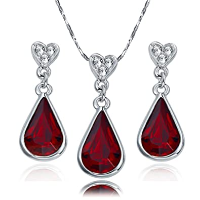 9753ead1d15 Yoursfs Tear Drop of Heart 18k Gold Plated Garnet Crystal Pendent Necklace  and Earrings.