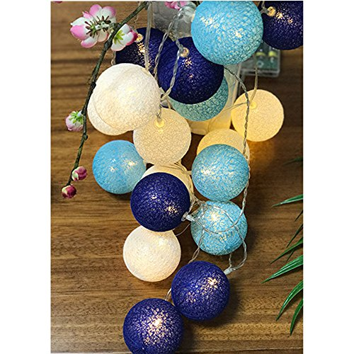 cotton ball string lights blue - 4