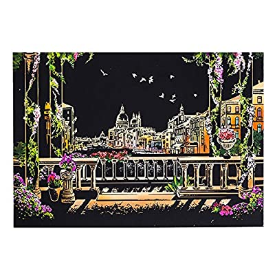 YOCheerful Magic Scratch Art - City Landmark Pictures, Beautiful/Gorgeous View, Painting Paper with Drawing Stick, Kids Toy, 40.5X28.5 cm (J): Toys & Games