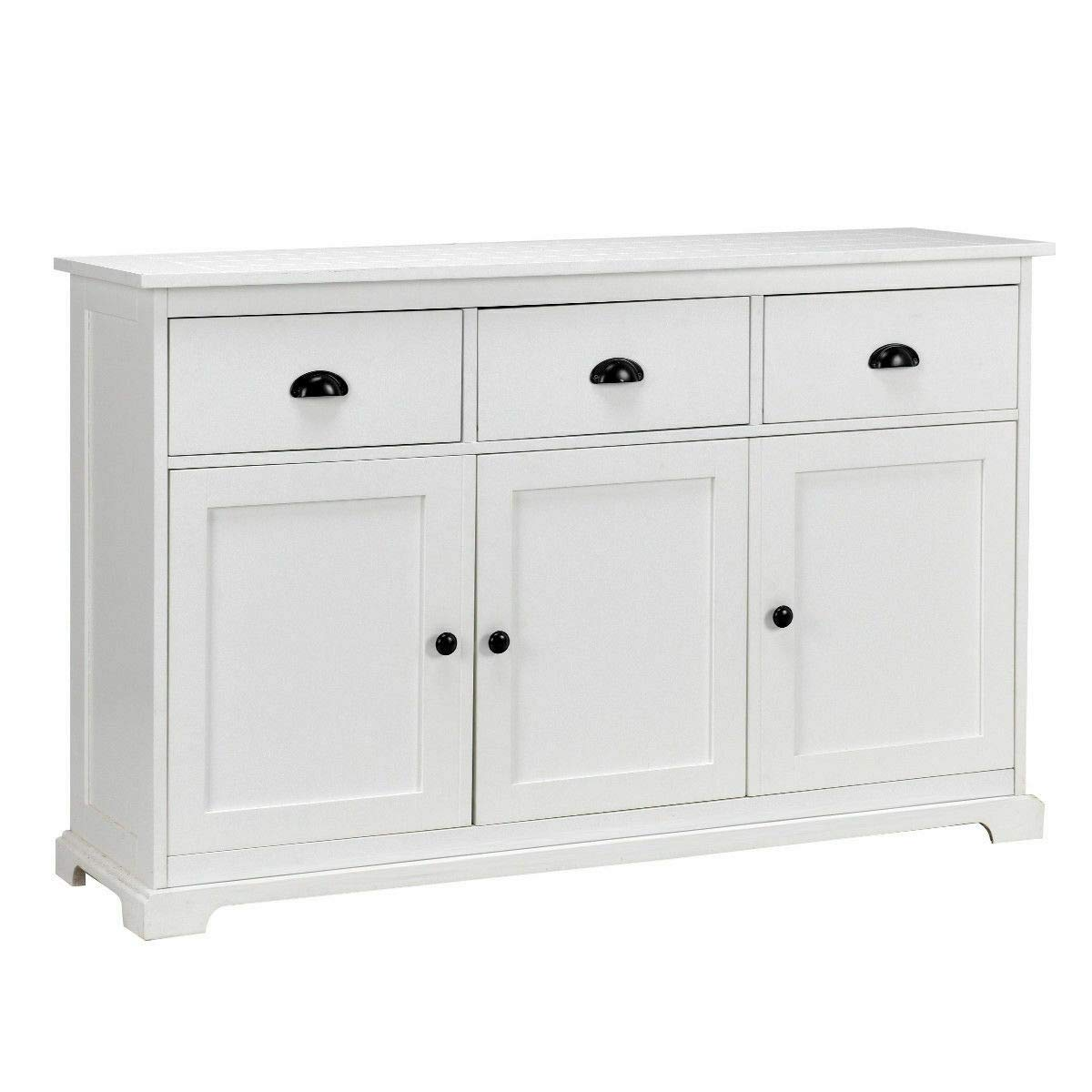 Amazon.com   Entryway Cupboard Sideboard Buffet Table Storage Console  Cabinet W/ 3 Drawers   White With Ebook   Buffets U0026 Sideboards