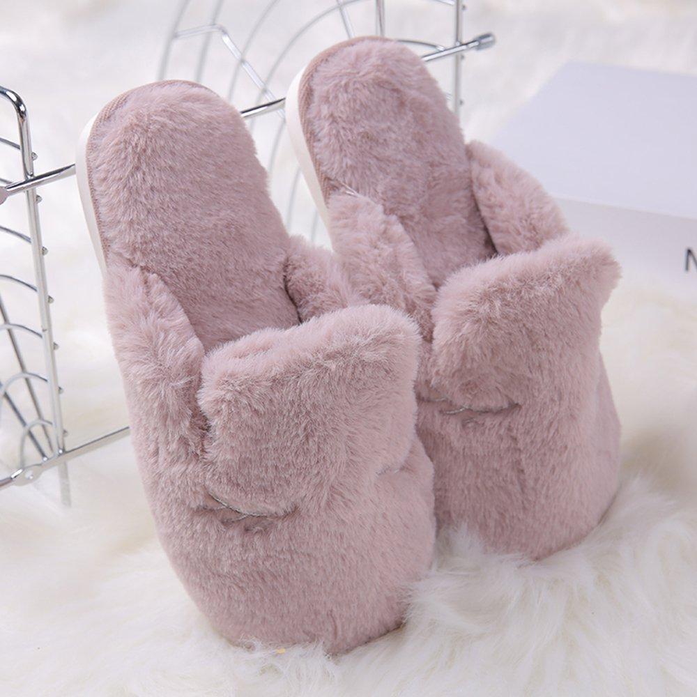EUBUY Winter Warm Comfort Anti-slip Cotton Slip on Men Women Lining Plush Indoor Shoe Couples House Slipper Purple L