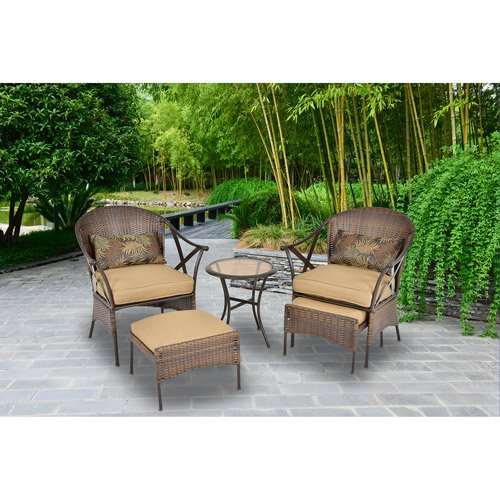 Mainstays 5 Piece Skylar Glen Outdoor Leisure Set Tan Seats 2 Home Patio And Furniture
