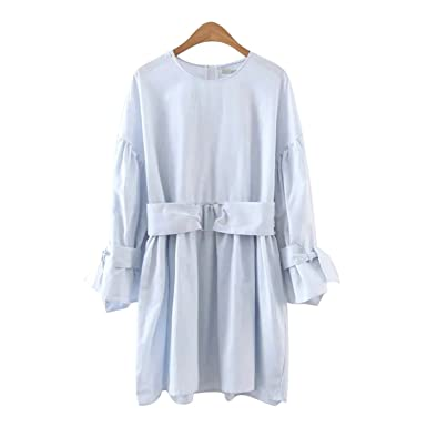 Venetia Morton Fashion Women Sky Blue Tunic Dress Europe Style Sashes O-Neck Tie Batwing