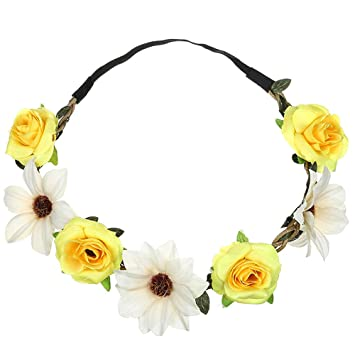 95a3452b3 Amazon.com : Boho Sunflower Rose HairBand Festival Wedding Garland Headband  Hair Accessories Beach Party Sunmoot : Beauty