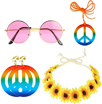 Adults Hippie Flower Headband Earrings Glasses Set Girls 70s Party Accessories