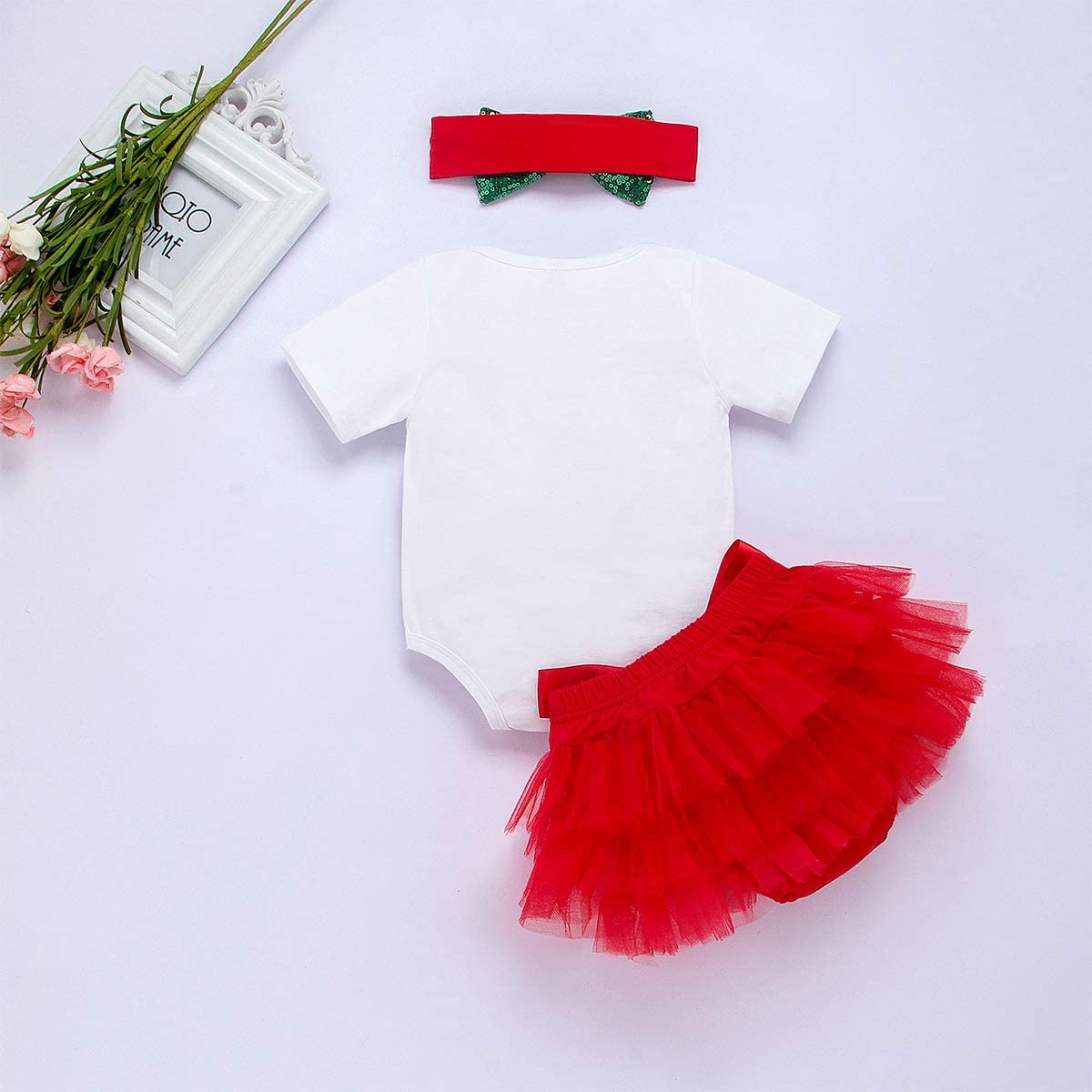 Tutu di Pizzo Gonne Abito Outfit jsadfojas My 1st Christmas Toddler Infant Newborn Baby Girls Vestiti Pagliaccetto Top