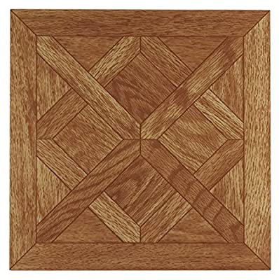 Achim Home Furnishings FTVWD20145 Tivoli Self Adhesive Vinyl Tiles, 12 x 12-Inches, Parquet Oak, 45 Pack