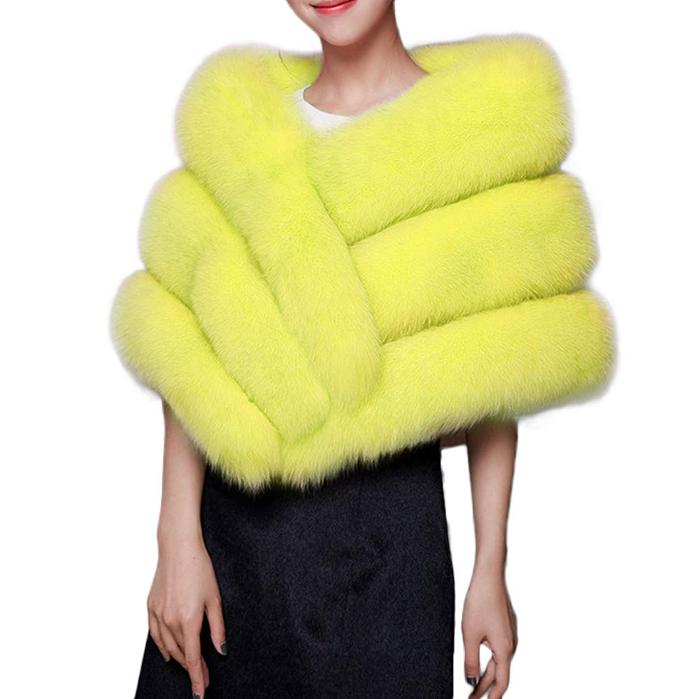 GREFER Faux Fur Shawl Wrap Stole Shrug Winter Bridal Wedding Evening Party Cover Up (Yellow) by GREFER