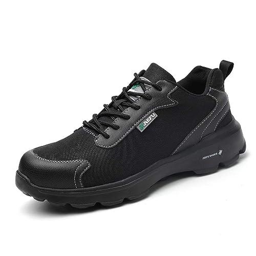 Zapatos de Seguridad Hombres con Punta de Acero Zapatillas de Trabajo Calzado Ultra Liviano Reflectivo Transpirable Ligeros Negro Camo 36-48