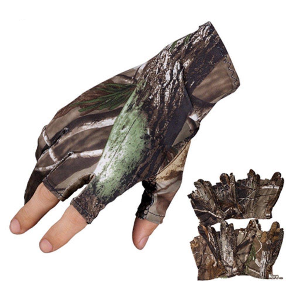 1 Paar Handschuhe 3 Finger Sommer dünne Angeln Gel Handschuhe, LU2000 atmungsaktiv Sun-Beweis Super Slim rutschfeste elastische Camouflage Handschuhe - Universalgröße (zufällige Muster)