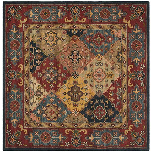 Safavieh Heritage Collection HG926A Handcrafted Traditional Oriental Red and Multi Wool Square Area Rug (6