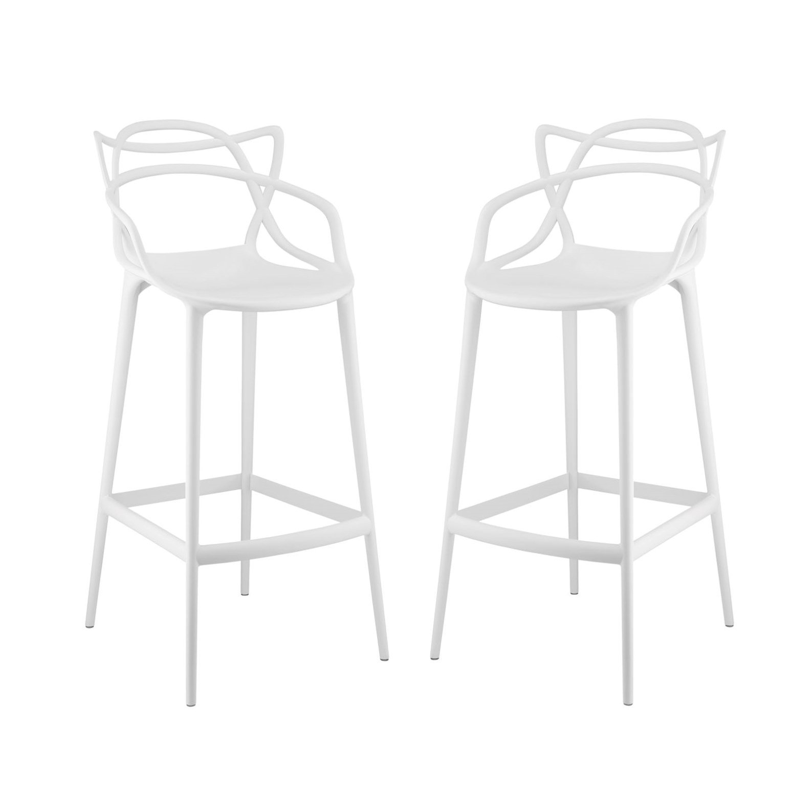Modern Contemporary Urban Design Outdoor Kitchen Room Bar Stool Chair ( Set of Two), White, Plastic