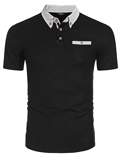 437750c994df COOFANDY Men's Short Sleeve Polo Shirt Regular Fit with Pockets Classic  Golf T Shirt Polka Dot