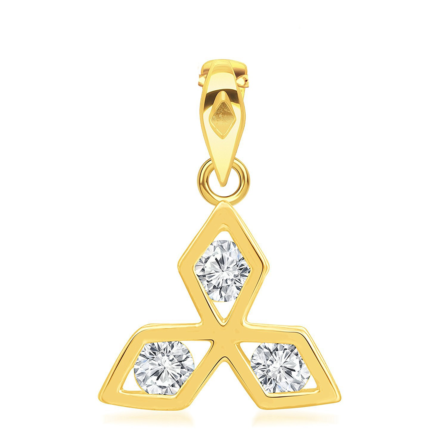 Ashley Jewels Simulated Diamond Studded Fashion Charm Pendant Necklace in 14K Yellow Gold Plated With Box Chain