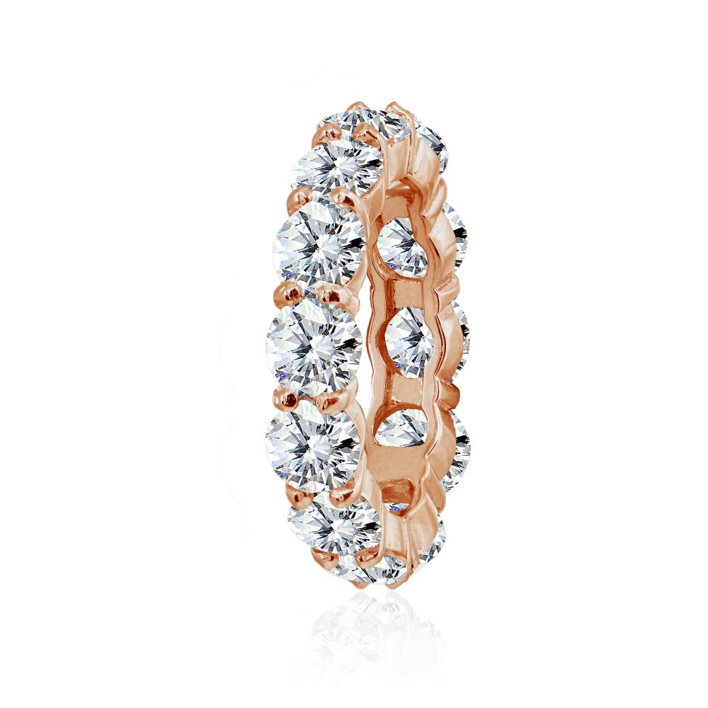 Sterling Silver Cubic Zirconia 5mm Round-Cut Anniversary Eternity Band Ring Hoops /& Loops