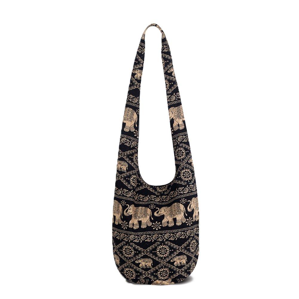 KARRESLY Bohemian Cotton Hippie Crossbody Bag Hobo Sling Bag Handmade Messenger Shoulder Bags(Khaki)
