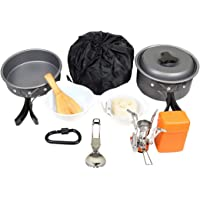 Goetland 16 Pcs Camping Cookware Set Mess Kit Backpacking Cookset Outdoor Hiking Picnic Non-Stick Cooking Anodized…