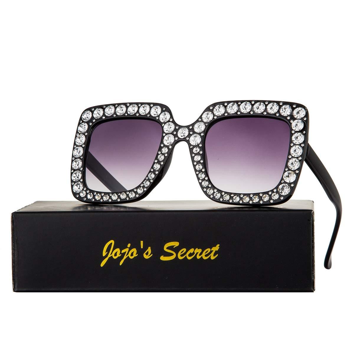 JOJO'S SECRET Crystal Brand Designer Retro Oversized Square Sunglasses For Women JS001 (Black/Grey, 2.0)