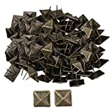 Mxfans 100 PCS Bronze Furniture Decorative Nails Upholstery Tacks Square Studs
