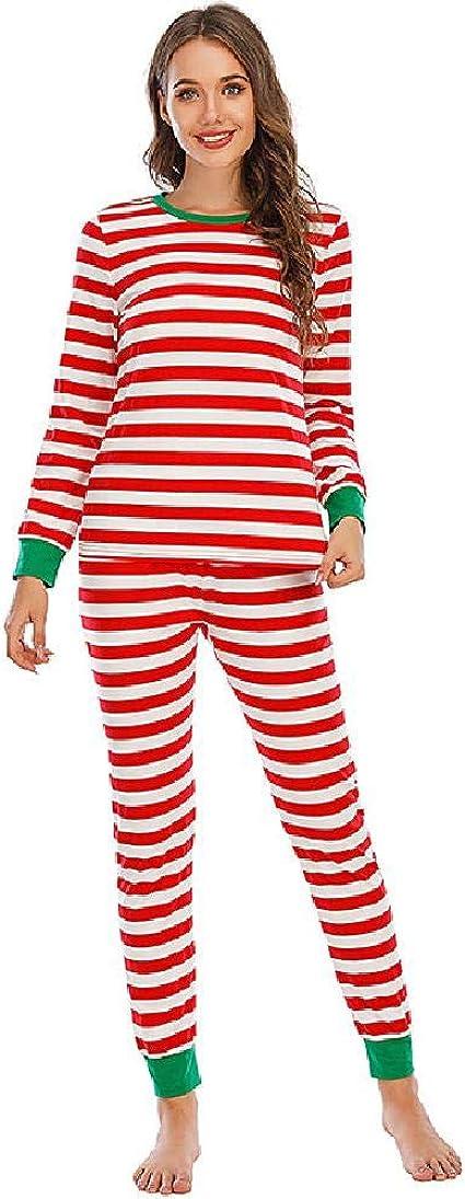 Traje de Pijama Casual de Mujer con Rayas navideñas para ...