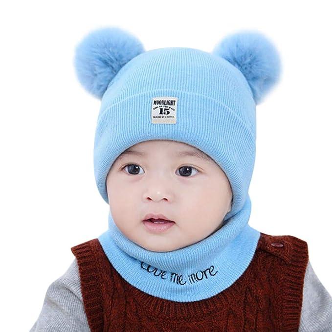 QinMM Neonato Bambini Bambino Ragazzo Ragazza Cappello Pom Set di Sciarpe  per Berretto Invernale Lavorato a 9c369710e810