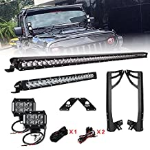 Racbox 52'' 250W LED Light Bar Single Row + 100W 20'' Cree LED Light Bar Combo Beam + 18W 4'' Light Bar Work Light Flood Beam with Mount Brackets + Free Wire Harness with ON/Off Switch