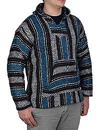 Baja Joe Striped Woven Eco-Friendly Jacket Coat Hoodie (Turquoise, XL)