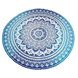 #9: Blue Ombre Beach Towel Mandala Round Roundie Beach Throw Tapestry Hippy Hippie Gypsy Cotton Tablecloth Round Yoga Mat