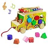 Xilofono di Legno Strumento Giocattoli Musicali Auto Camion Giocattolo Sorter di Figura Animale di Legno per Bambini 3+