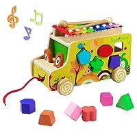 yoptote Xilofono Legno Bambini Gioco di Legno Strumento Giocattoli Musicali Auto Camion Giocattolo Forme in Legno per Bambini 3+