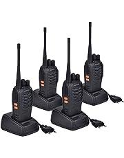 Miavogo 4 x Walkie Talkie Set PMR 446 UHF 16 Kanäle Wiederaufladbare Funkgeräte, bis zu 3 Km - mit Headset