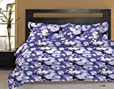 Bombay Dyeing Element Polycotton Double Bedsheet with 2 Pillow Covers -Purple