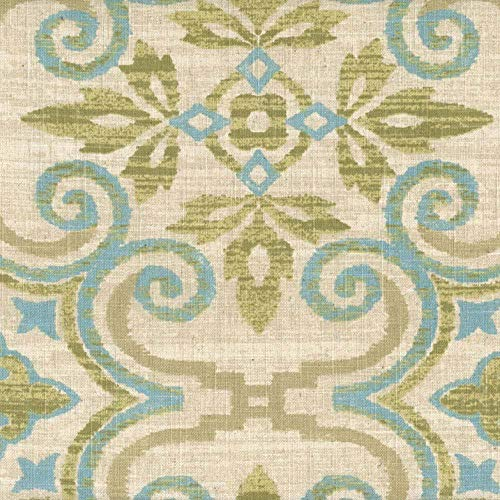 Swatch Sample Fabric Upholstery Drapery Waverly Sumatra Citron Green Blue Aztec Linen EE212 ()