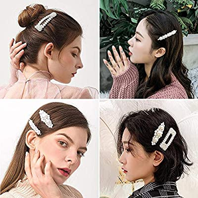 Onlyesh Pearl Hair Clip for Women Hair Pins for Girls Hair Decorative Silver Pearl Alligator Clips Gold Fashion Style Pin