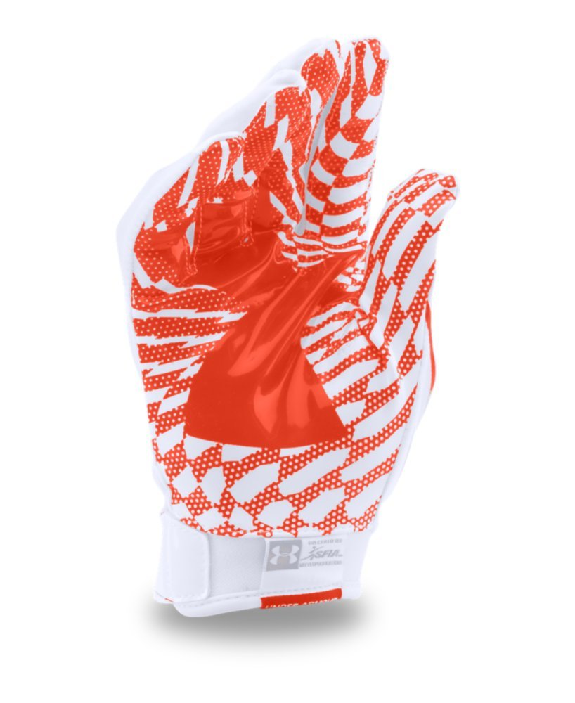 Under Armour Mens F5 Football Gloves, White/Dark Orange, Small by Under Armour (Image #2)
