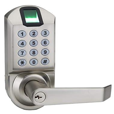 Ardwolf A1 Fingerprint Door Lock, Keyless Biometric Keypad Lock, with Reversible Lever and Automatic Locking, No Drills Needed - Satin Nickel