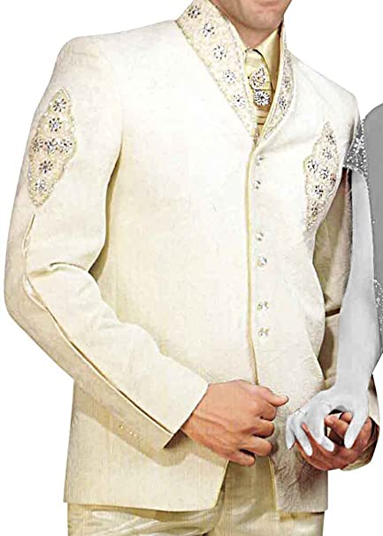 INMONARCH Mens Ivory 5 Pc Tuxedo Suit Indian Wedding ...